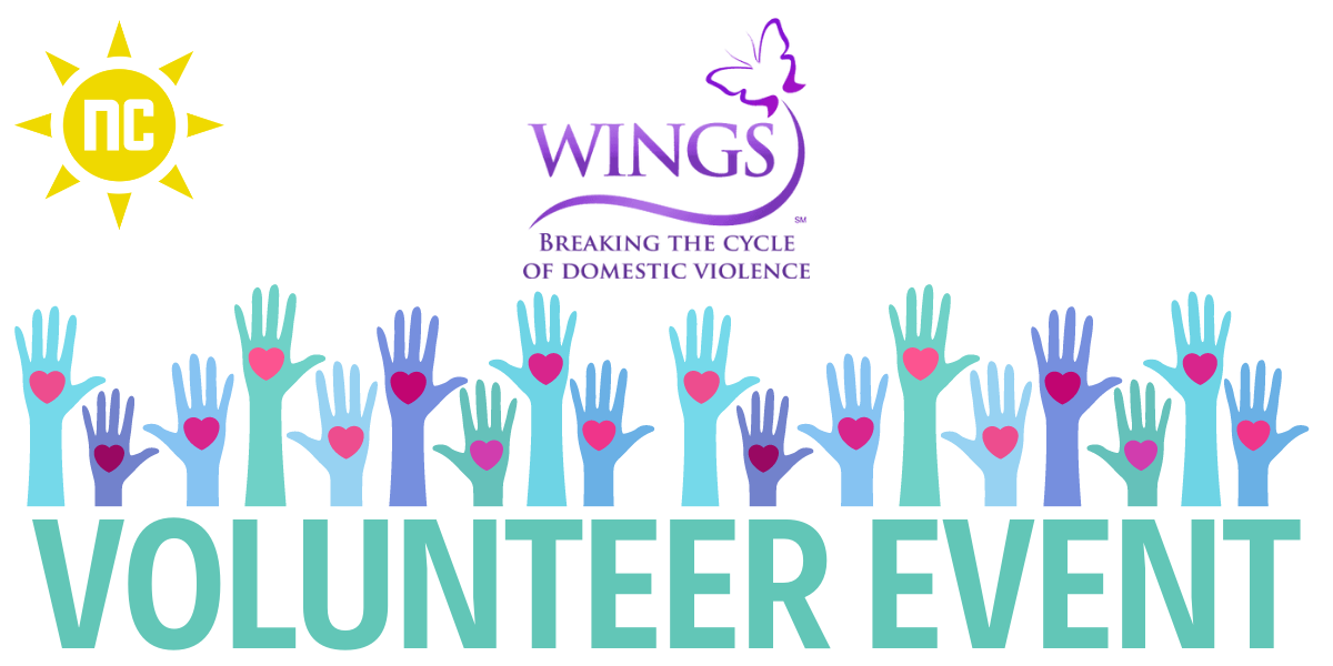 WINGS volunteer event with hands raising up together offering hearts.